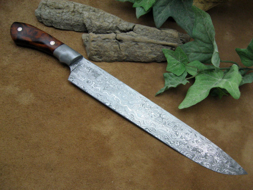 This Is A Large Full Tang Kitchen Carving Knife With Blade Of 400 Layer Damascus Done In Raindrop Pattern The Has 10 Cutting Edge Approx